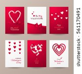 set of cute cards for valentine'... | Shutterstock .eps vector #561170491
