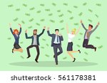 happy business people jumping... | Shutterstock .eps vector #561178381