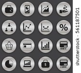 set of 16 editable analytics... | Shutterstock .eps vector #561187501