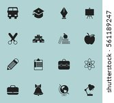 set of 16 knowledge icons.... | Shutterstock . vector #561189247