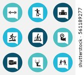 set of 9 active icons. includes ...