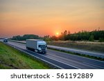 White Trucks Driving On The...