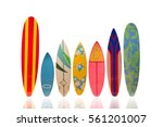 Colorful Surfboard On White...