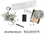 minimal flatlay with smartphone ... | Shutterstock . vector #561205375