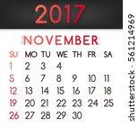 november 2017 calendar  in a...   Shutterstock . vector #561214969