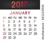 january 2017 calendar  in a...   Shutterstock . vector #561215035