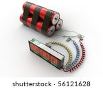 bomb with counter and connectors isolated on white background - stock photo