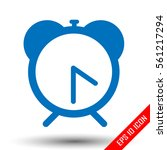 alarm clock icon. flat logo of...