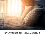 bed maid up with clean white... | Shutterstock . vector #561230875