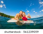 happy girls in bikini have fun  ... | Shutterstock . vector #561239059
