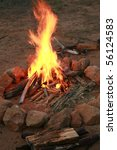 a camp fire in a fire pit at a... | Shutterstock . vector #56124583
