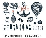 valentines day collection with... | Shutterstock .eps vector #561265579