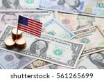 us flag sign and dollar cash... | Shutterstock . vector #561265699