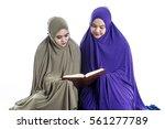 young muslim girls wearing...   Shutterstock . vector #561277789