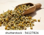 Wooden spoon with dried chamomile flowers - stock photo