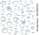 seamless pattern of kitchen... | Shutterstock .eps vector #561285325