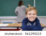 happy young schoolboy with a...   Shutterstock . vector #561290215