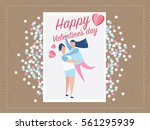 love. young joyful couple on... | Shutterstock .eps vector #561295939