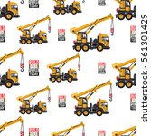seamless pattern with truck...   Shutterstock .eps vector #561301429