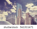 color toned picture of chicago... | Shutterstock . vector #561311671