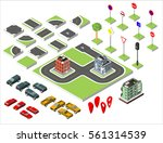 set isometric road and vector... | Shutterstock .eps vector #561314539