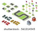 Set Isometric Road And Vector...
