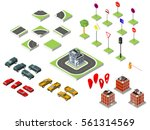 set isometric road and vector... | Shutterstock .eps vector #561314569