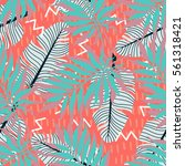 summer exotic floral tropical... | Shutterstock .eps vector #561318421