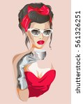 beautiful woman with eiffel... | Shutterstock .eps vector #561326251