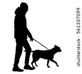 Stock vector silhouette of people and dog vector illustration 561337099
