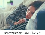 portrait of a sick woman... | Shutterstock . vector #561346174