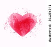 abstract watercolor pink heart | Shutterstock .eps vector #561356941