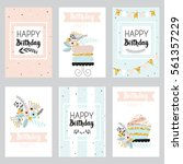happy birthday and invitation... | Shutterstock .eps vector #561357229