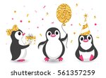 three penguins with balloons ... | Shutterstock .eps vector #561357259