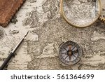compass  ink pen  magnifier and ... | Shutterstock . vector #561364699