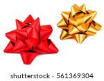 red and golden bow isolated on... | Shutterstock . vector #561369304