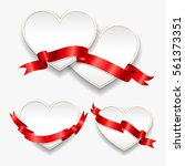 white paper hearts with red... | Shutterstock .eps vector #561373351