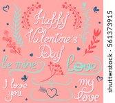 tender floral set of valentine... | Shutterstock .eps vector #561373915