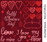 red set of valentine's day with ... | Shutterstock .eps vector #561373921
