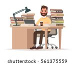 deadlines at work. tired office ... | Shutterstock .eps vector #561375559
