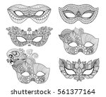mardi gras lace mask set. black ... | Shutterstock .eps vector #561377164