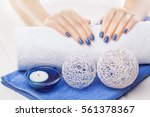 beautiful blue manicure with... | Shutterstock . vector #561378367