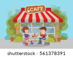 girl and boy eating fast food.... | Shutterstock .eps vector #561378391