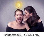 a young girl has an idea... | Shutterstock . vector #561381787