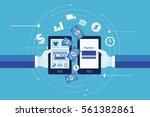 flat vector for business online ... | Shutterstock .eps vector #561382861