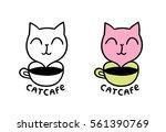 cat cafe logo. adorable funny... | Shutterstock .eps vector #561390769