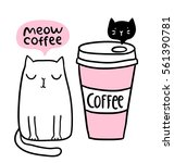 Stock vector cat cafe logo adorable funny kitten coffee to go paper cup 561390781