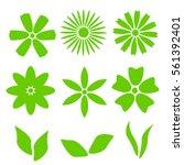 vector flower set. decorative... | Shutterstock .eps vector #561392401