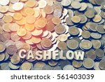 wood text cash flow on coins... | Shutterstock . vector #561403039