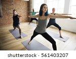 yoga practice exercise class... | Shutterstock . vector #561403207